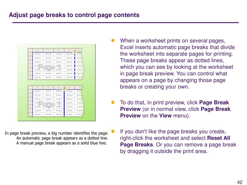 Adjust page breaks to control page contents