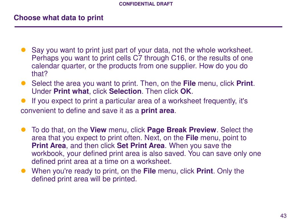 Choose what data to print