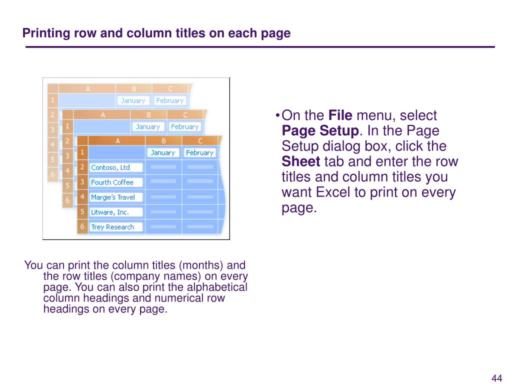 Printing row and column titles on each page