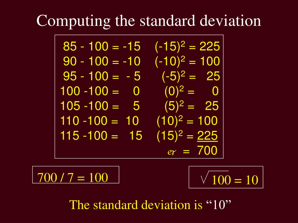 Computing the standard deviation