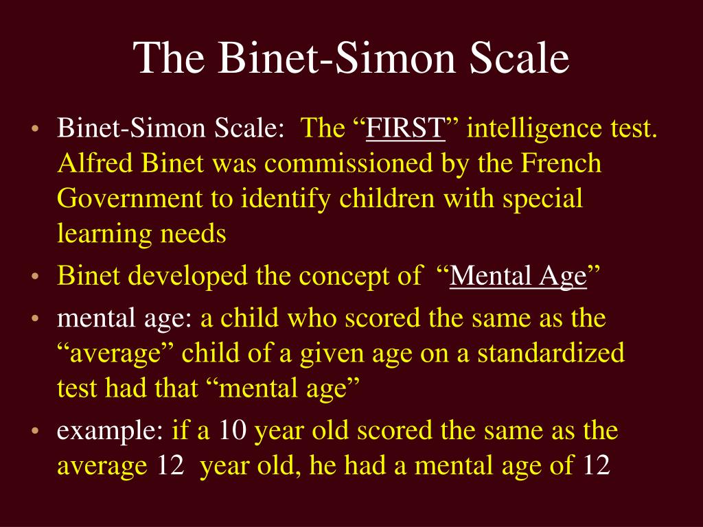 The Binet-Simon Scale