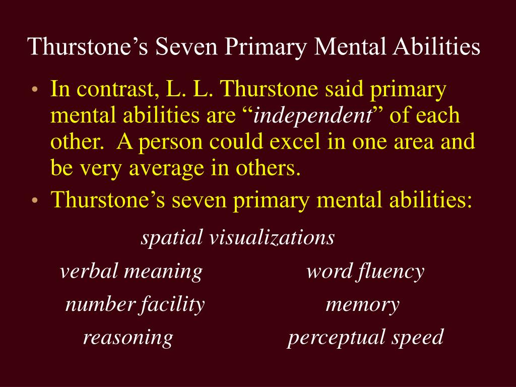 Thurstone's Seven Primary Mental Abilities