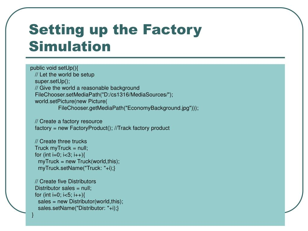 Setting up the Factory Simulation