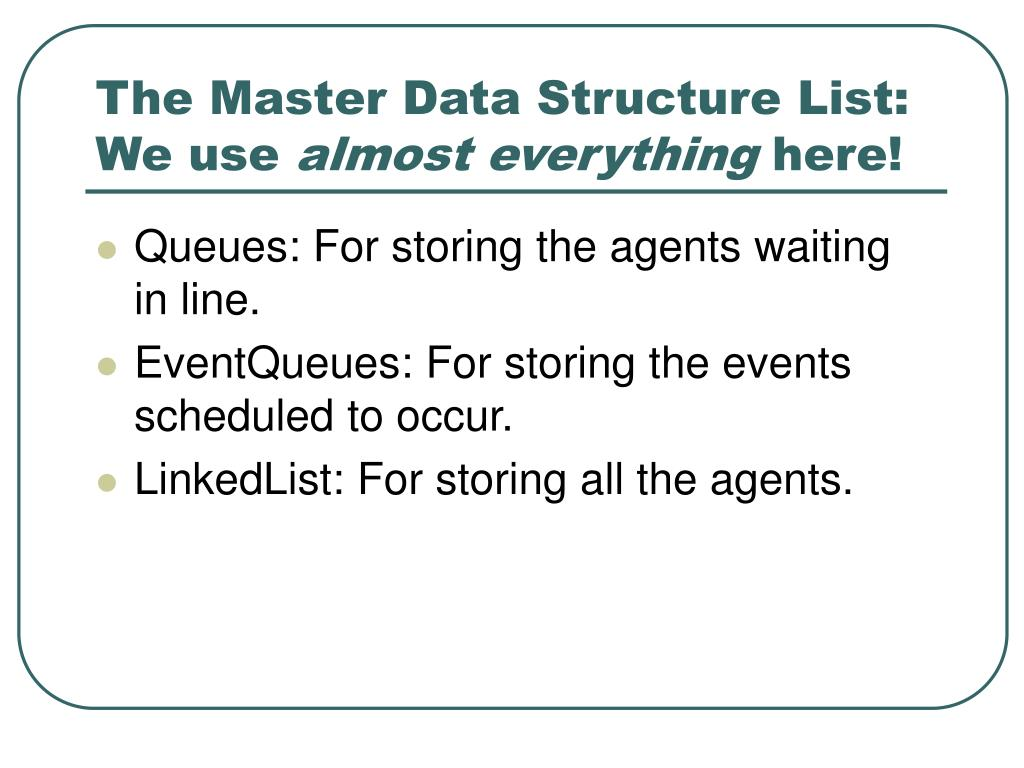 The Master Data Structure List:
