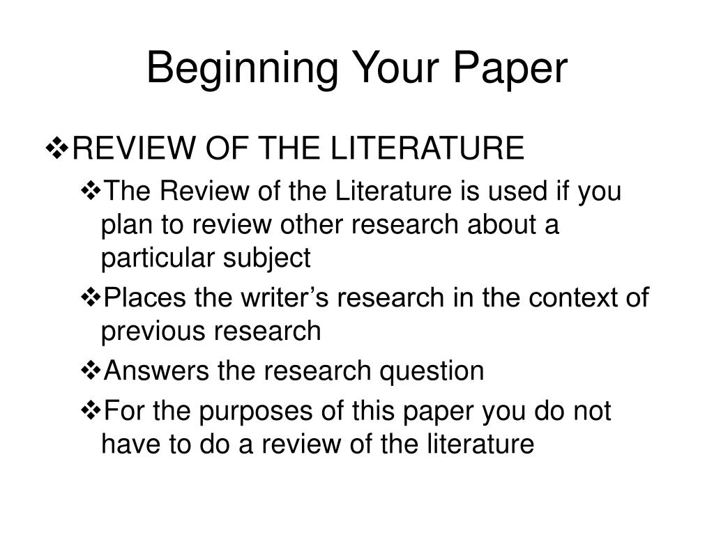 Beginning Your Paper