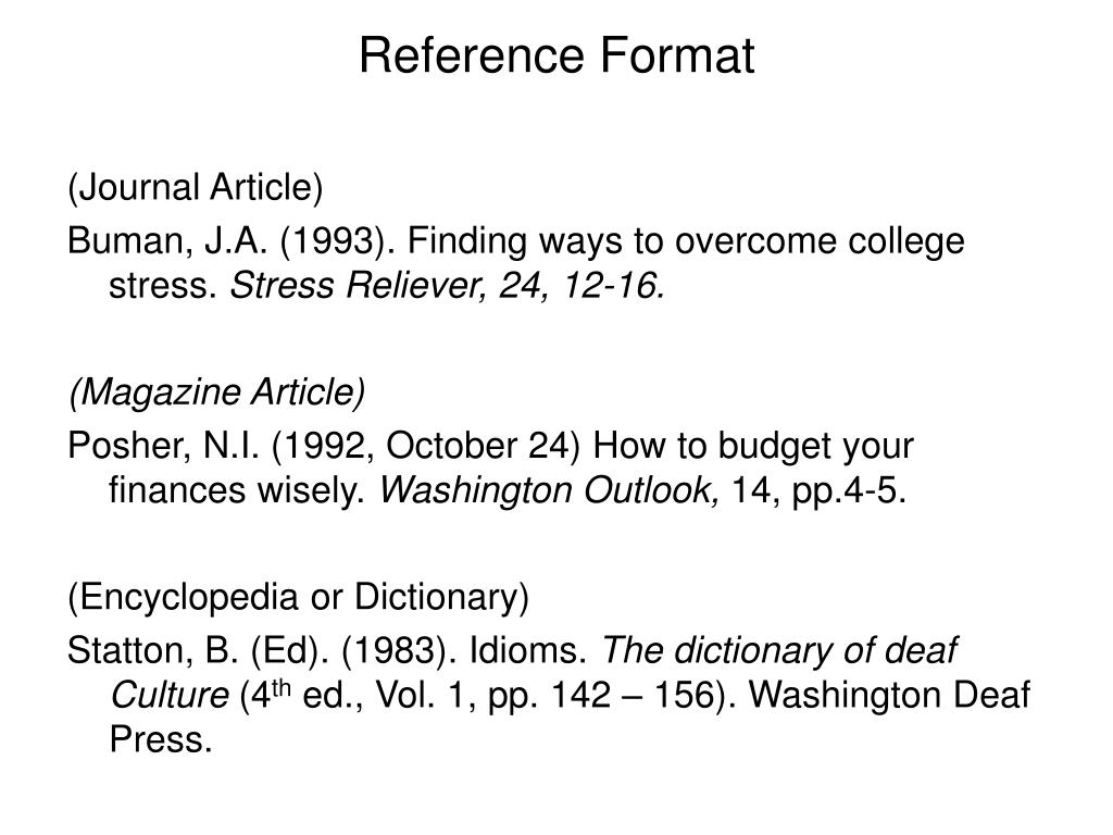 Reference Format