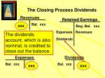 the closing process dividends