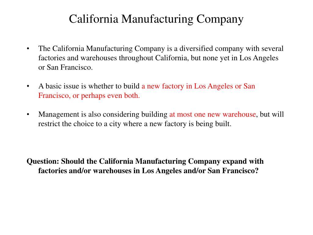 California Manufacturing Company