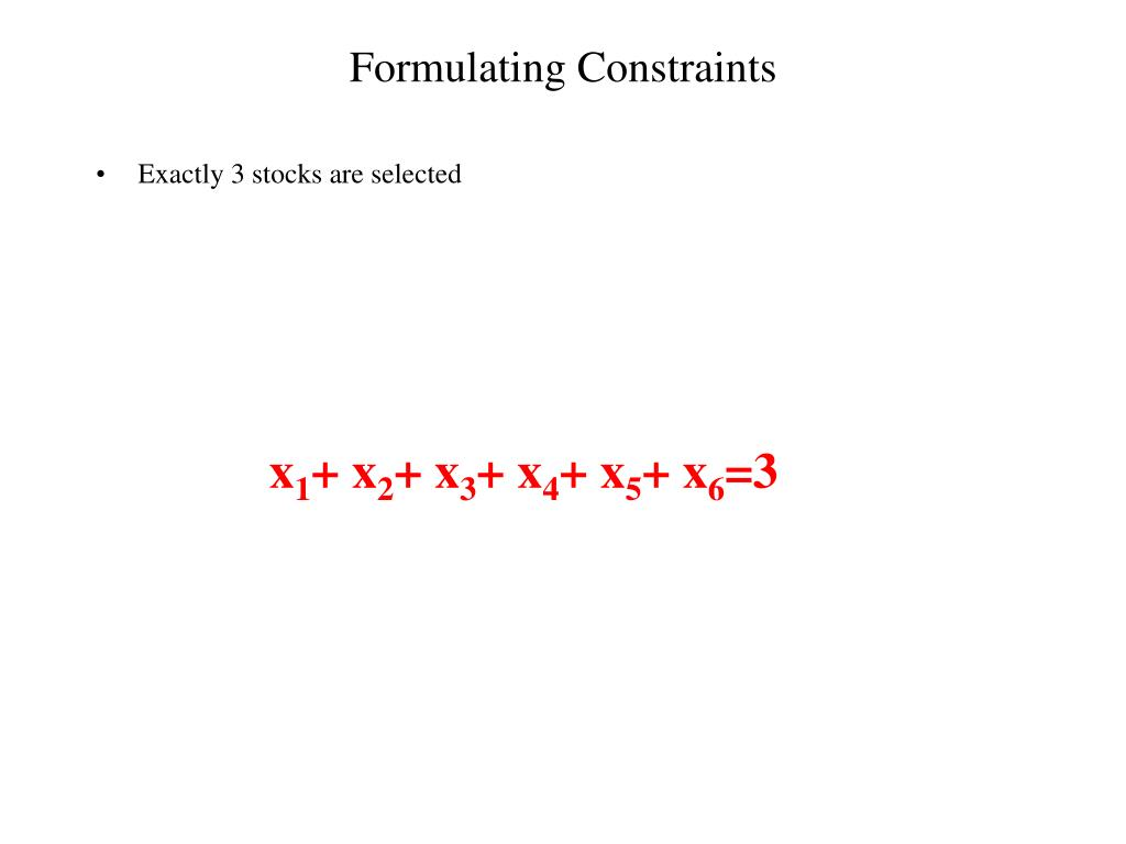 Formulating Constraints