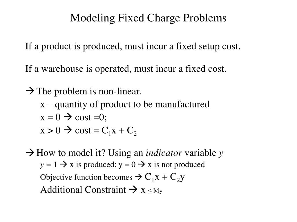 Modeling Fixed Charge Problems