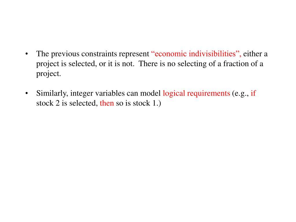 The previous constraints represent