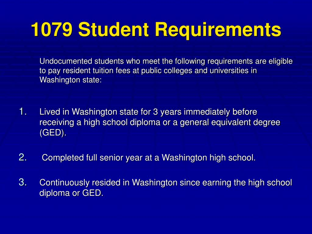 1079 Student Requirements