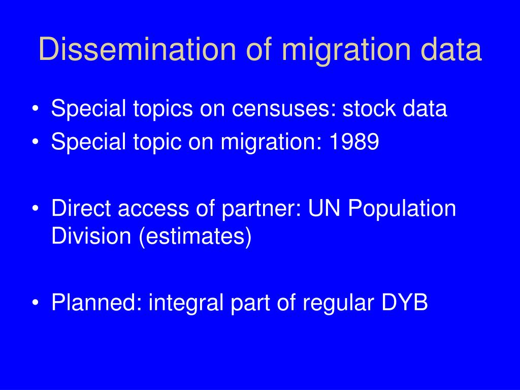Dissemination of migration data