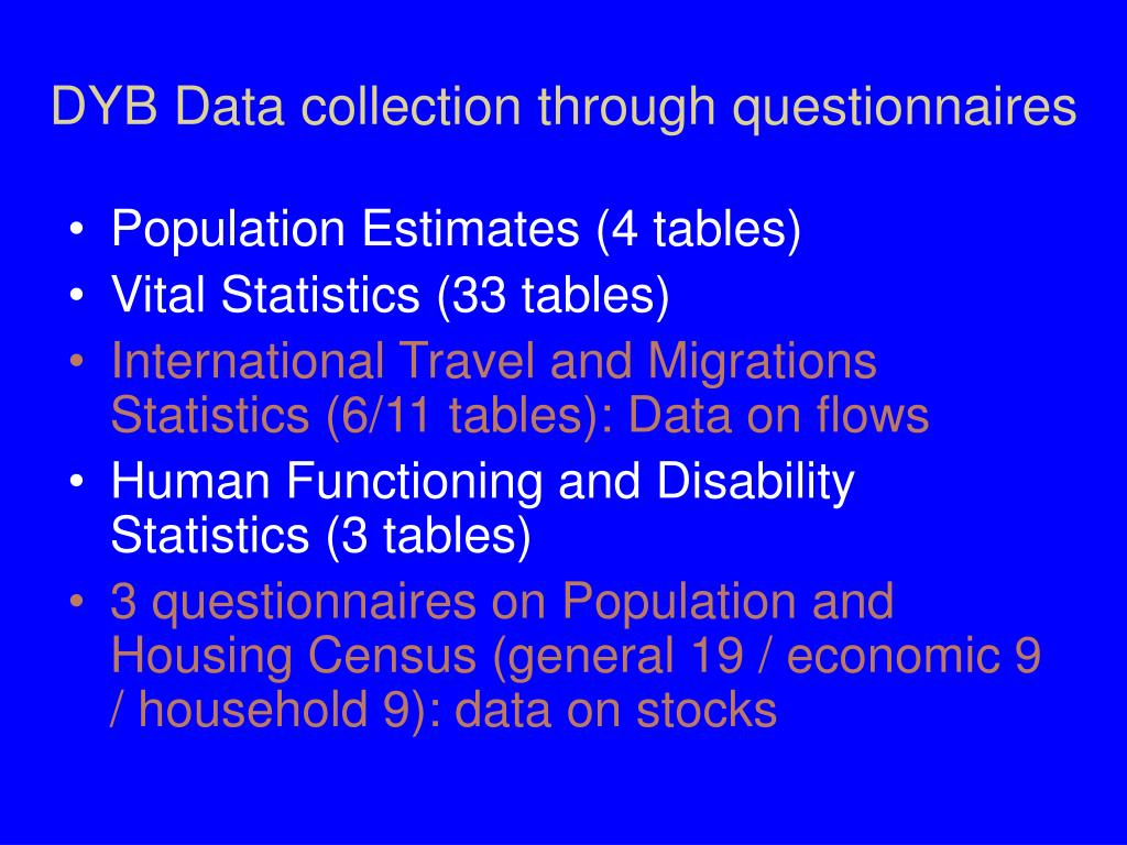 DYB Data collection through questionnaires