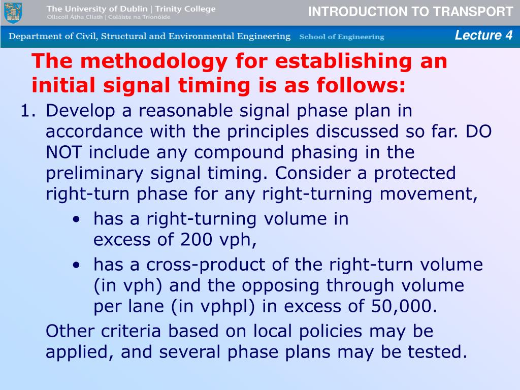 The methodology for establishing an initial signal timing is as follows: