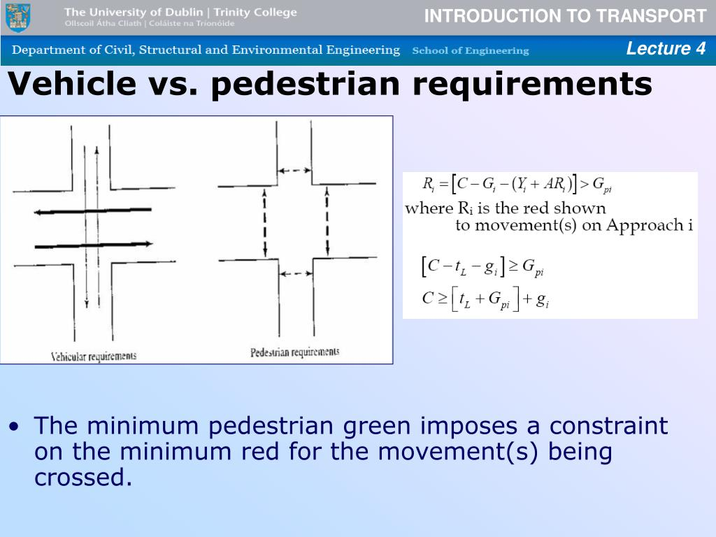 Vehicle vs. pedestrian requirements