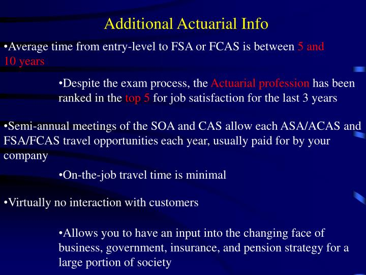 Additional Actuarial Info
