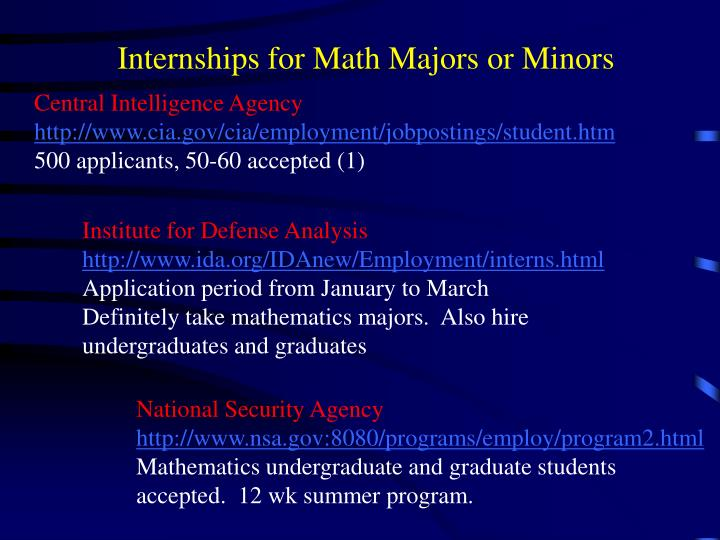 Internships for Math Majors or Minors