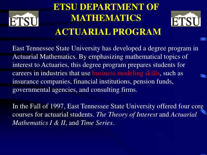 ETSU DEPARTMENT OF MATHEMATICS