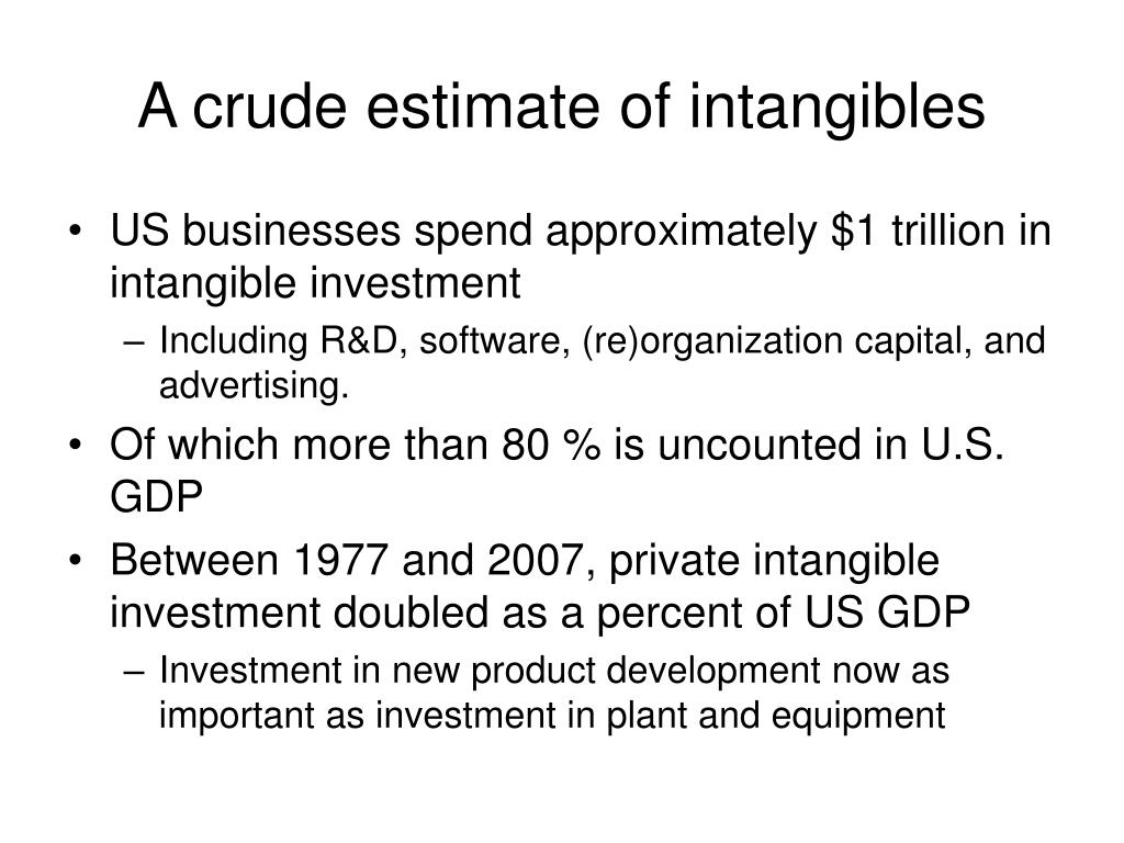 A crude estimate of intangibles