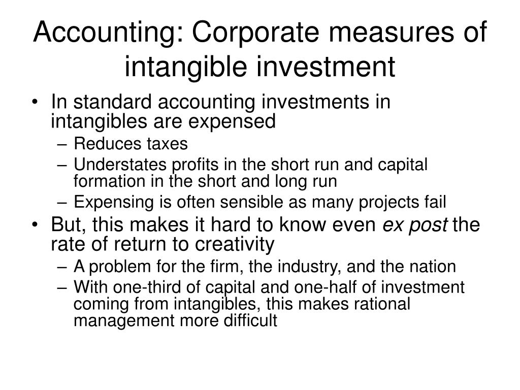 Accounting: Corporate measures of intangible investment