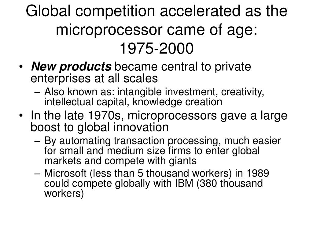 Global competition accelerated as the microprocessor came of age: