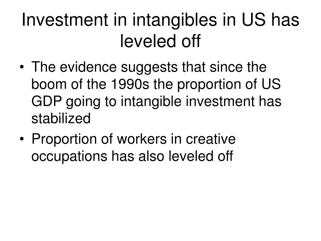 Investment in intangibles in US has leveled off