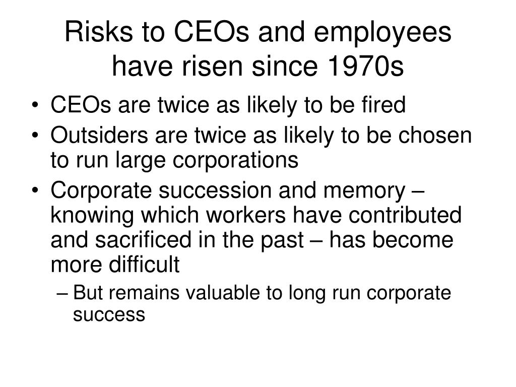 Risks to CEOs and employees have risen since 1970s