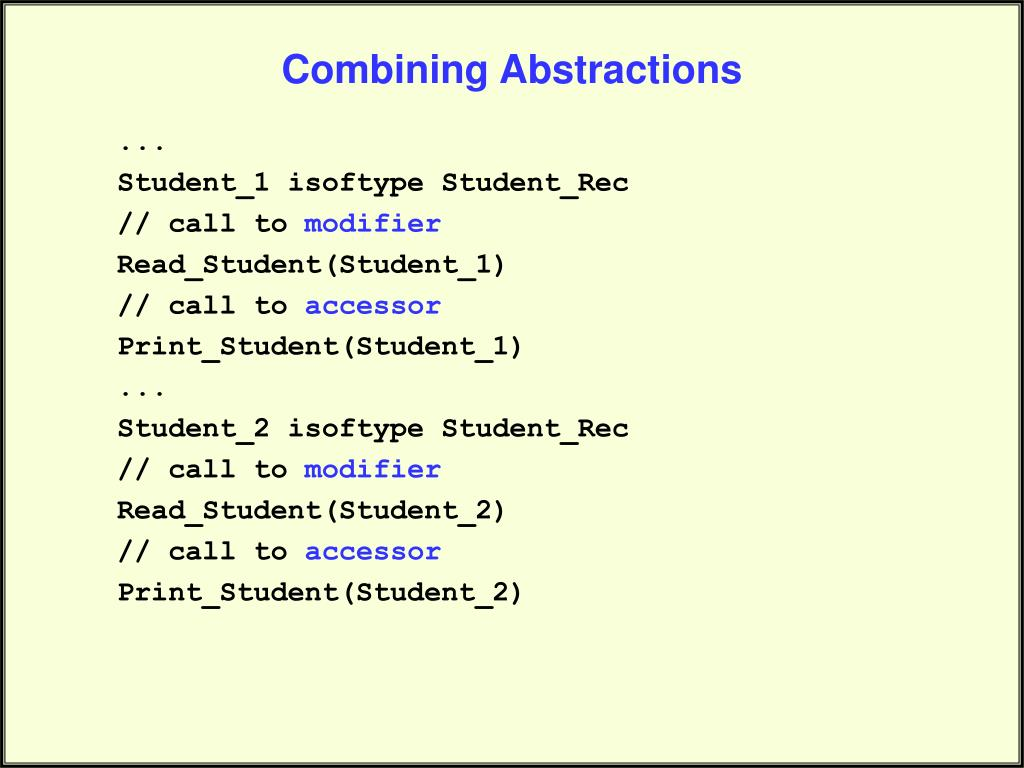 Combining Abstractions