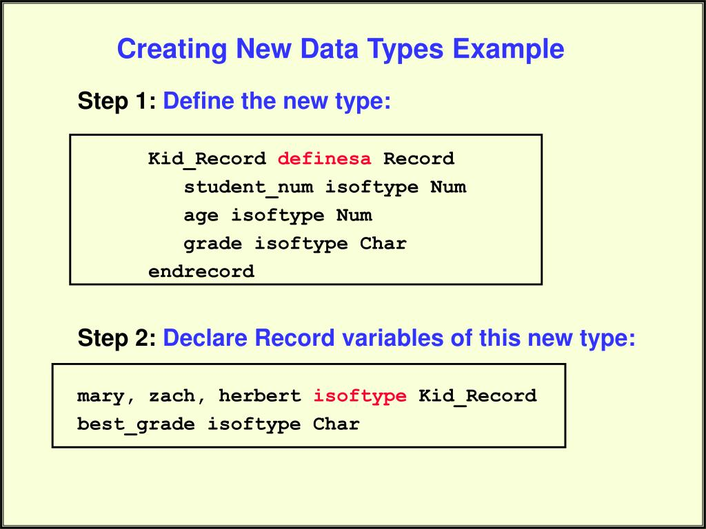 Creating New Data Types Example
