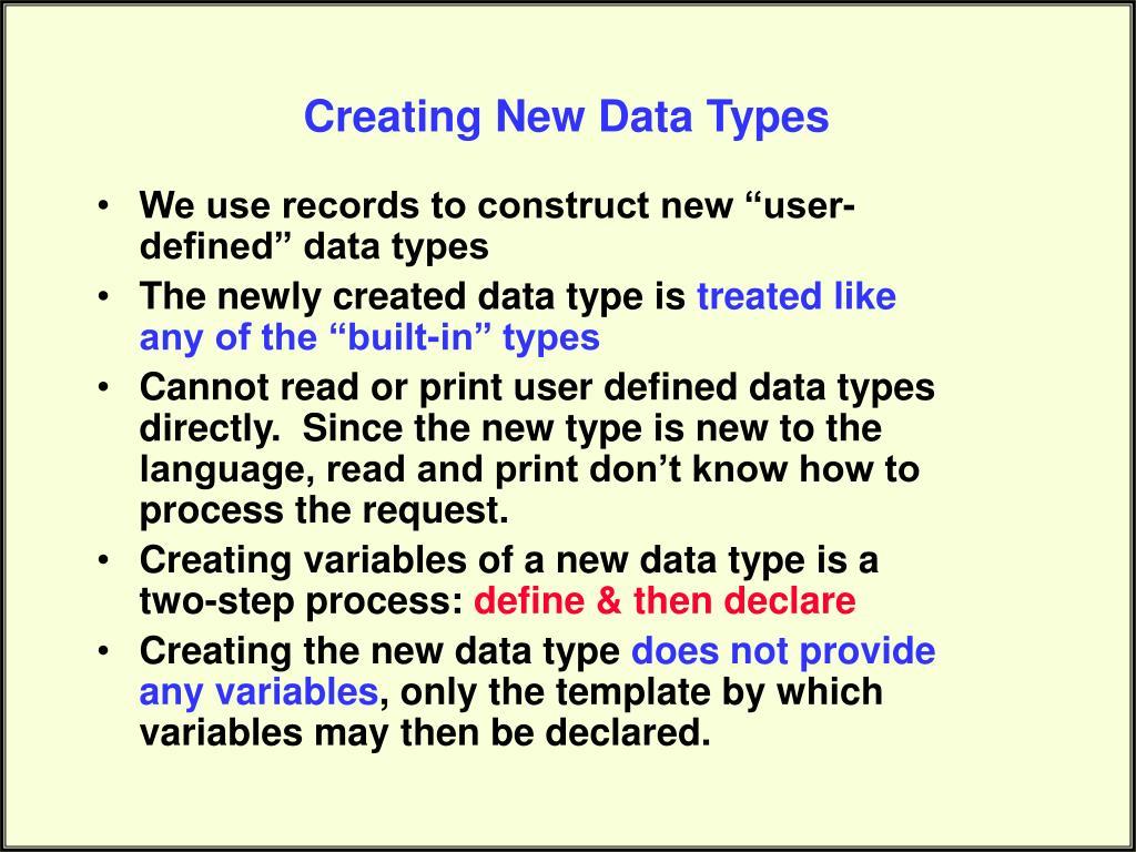 Creating New Data Types