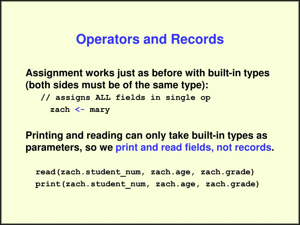Operators and Records