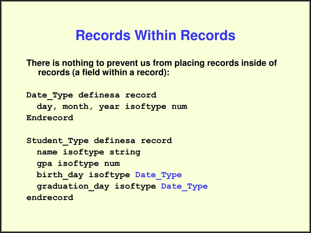 Records Within Records