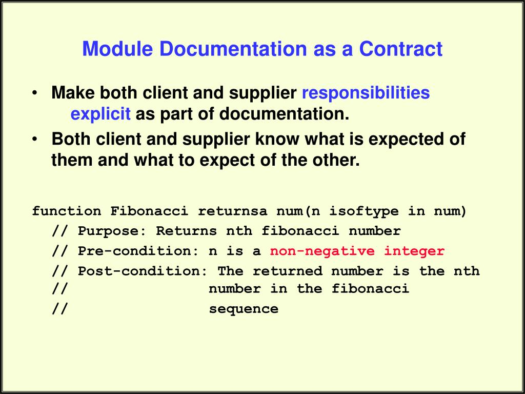 Module Documentation as a Contract