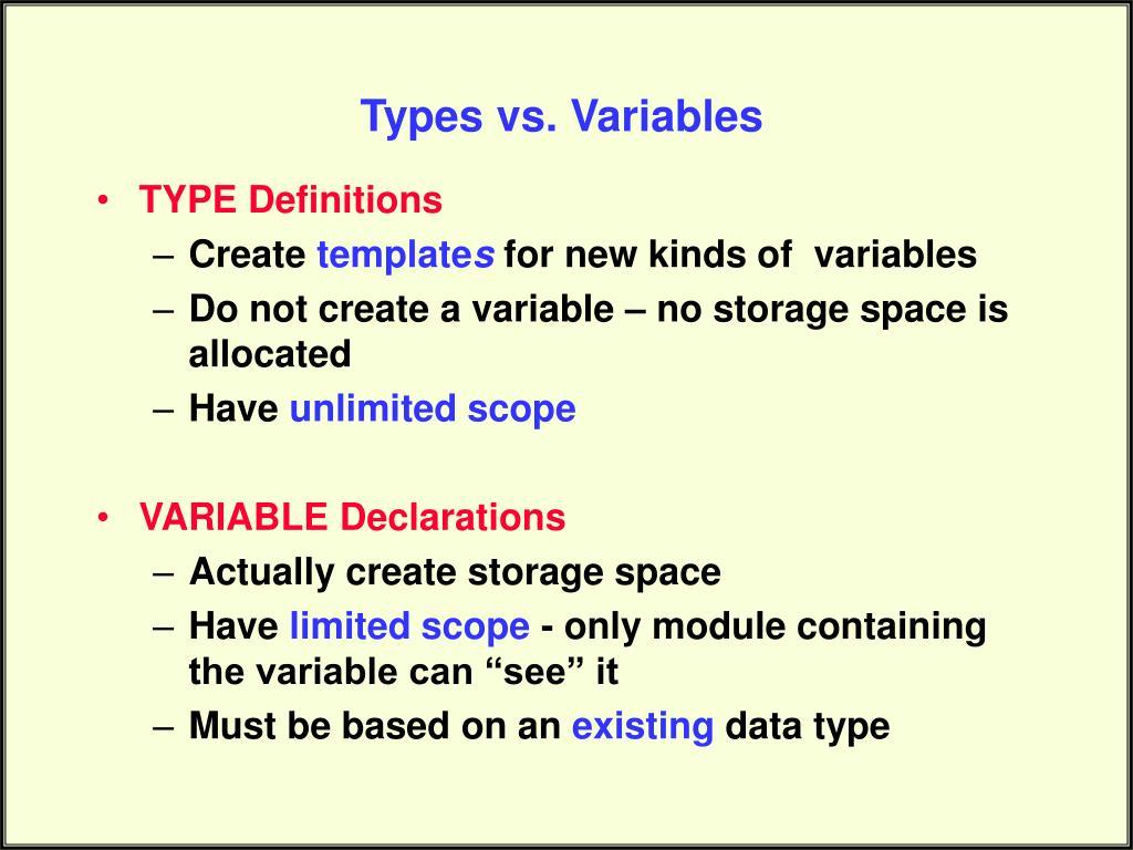 Types vs. Variables
