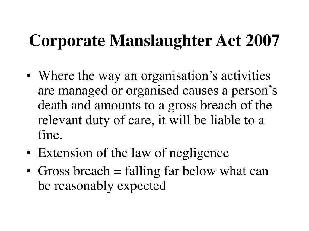 Corporate Manslaughter Act 2007