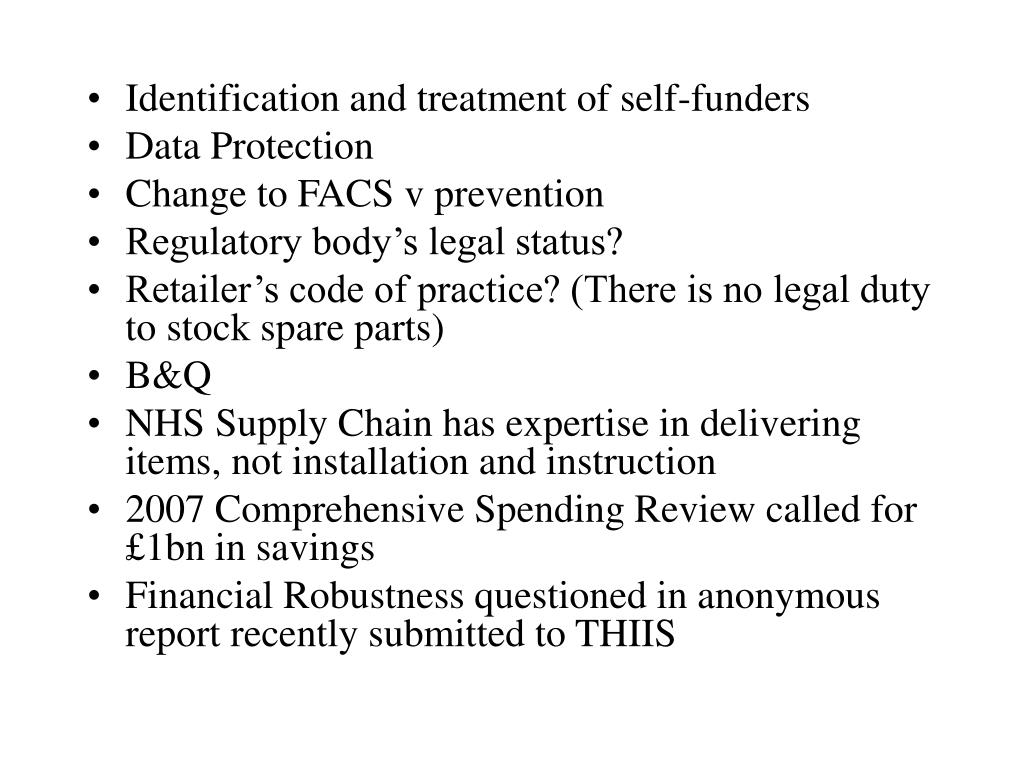 Identification and treatment of self-funders