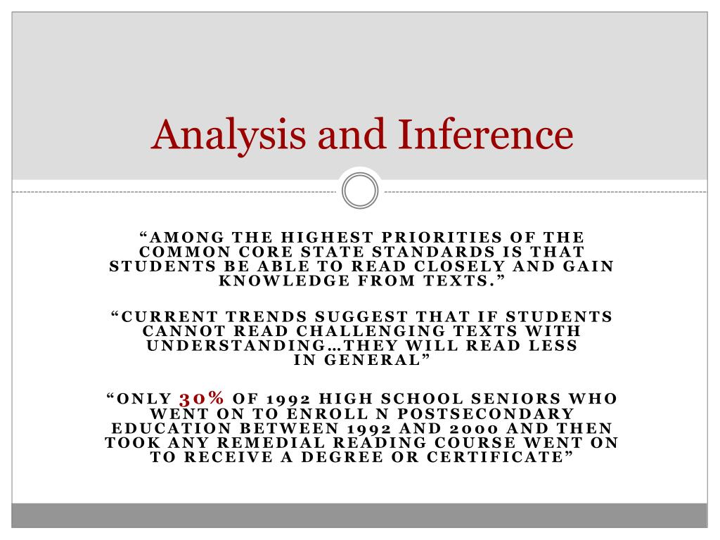 Analysis and Inference