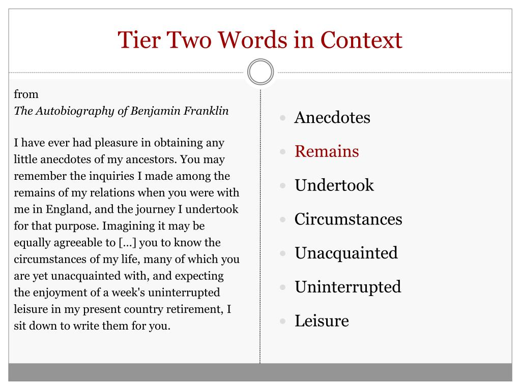 Tier Two Words in Context