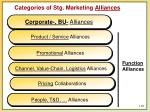 categories of stg marketing alliances