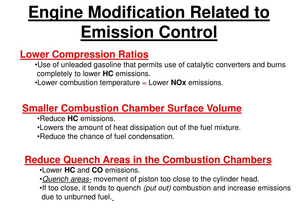 Engine Modification Related to Emission Control