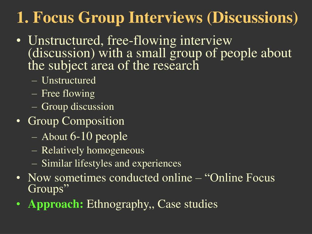 Unstructured, free-flowing interview (discussion) with a small group of people about the subject area of the research