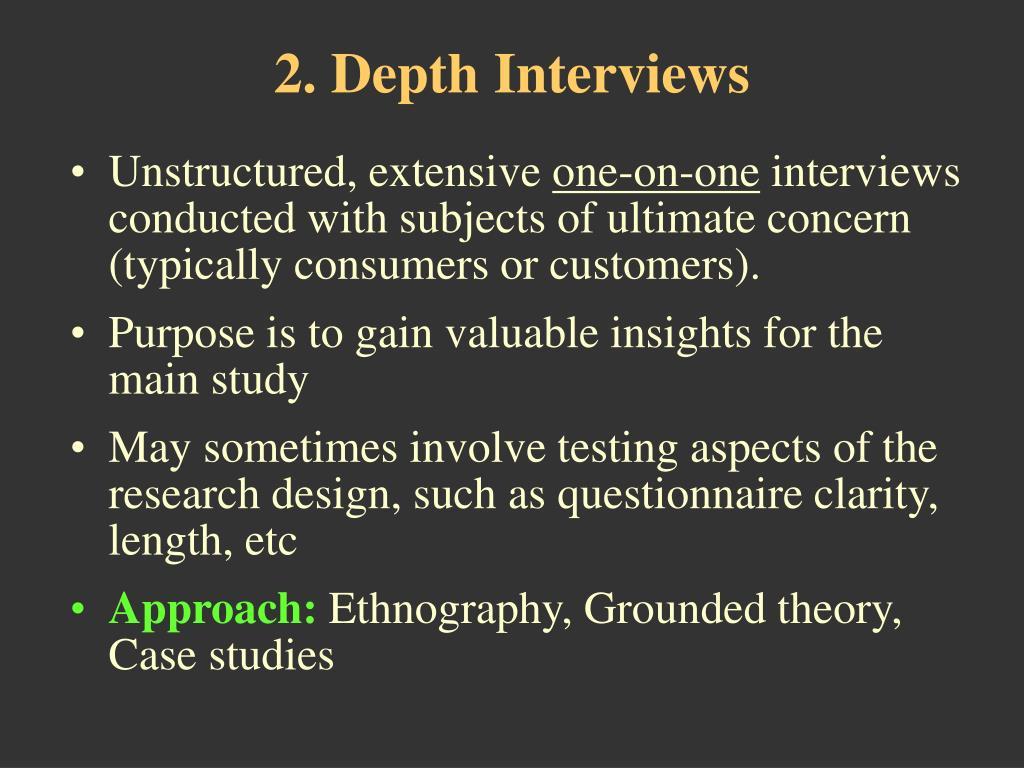 2. Depth Interviews