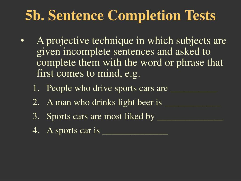 5b. Sentence Completion Tests