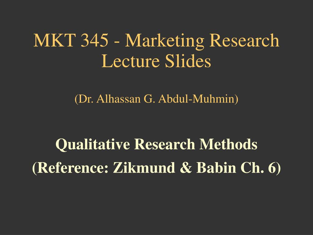 MKT 345 - Marketing Research