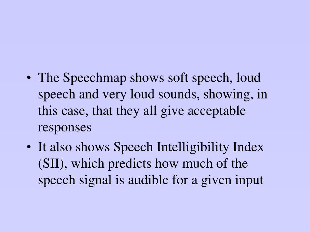 The Speechmap shows soft speech, loud speech and very loud sounds, showing, in this case, that they all give acceptable responses