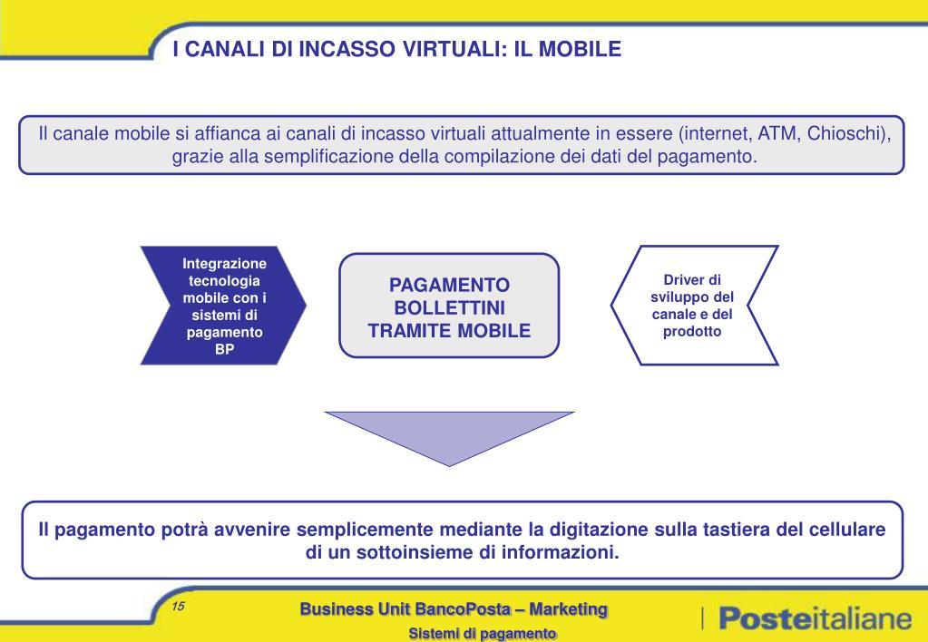 Il canale mobile si affianca ai canali di incasso virtuali attualmente in essere (internet, ATM, Chioschi), grazie alla semplificazione della compilazione dei dati del pagamento.