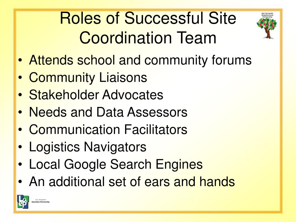 Roles of Successful Site Coordination Team
