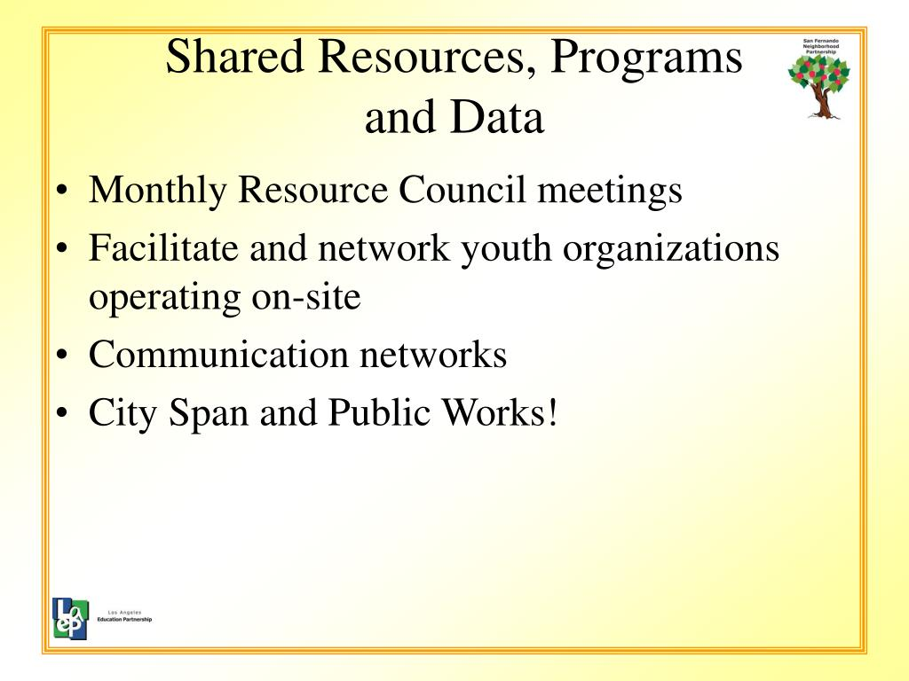 Shared Resources, Programs