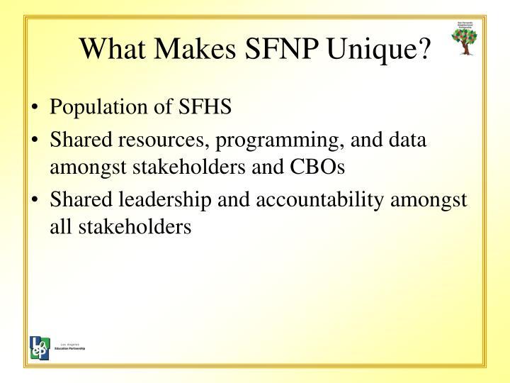 What makes sfnp unique